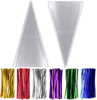 300 Pack Clear Cone Shaped Cello Cellophane Treat Bags - 1.4mil thickness OPP Plastic Bags with 6 Mix Colors Twist Ties Perfect for Favor Christmas Candy Popcorn