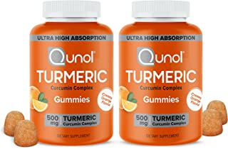 Qunol Turmeric Curcumin Gummies, 500 mg, Delicious Gummy Supplements, Helps Support an Active Lifestyle, 60 ct (2 Pack)