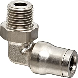 Legris 3609 06 10 Nickel-Plated Brass Push-to-Connect Fitting, 90 Degree Elbow, 6 mm Tube OD x 1/8