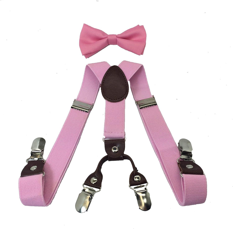 Boys Girls Kids Child Children 4 Clips Special Design Elastic Suspenders & Bow Tie (Pink)