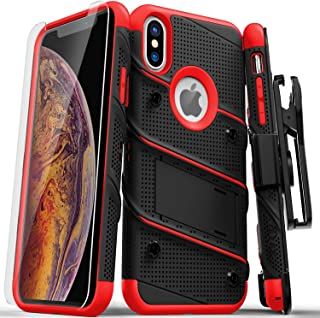 ZIZO Bolt Series iPhone Xs Max case Military Grade Drop Tested with Tempered Glass Screen Protector, Holster, Kickstand Black RED