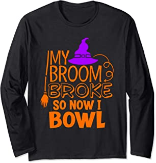 Halloween Ten Pin Bowling Strike Funny Witch Broomstick Long Sleeve T-Shirt