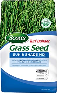 Scotts Turf Builder Grass Seed Sun and Shade Mix - 3 lbs, Grows in Full Sun and Dense Shade, Use to Seed New Lawn or Overseed Existing Lawn, Spreads and Thickens for a Durable Lawn - 18225