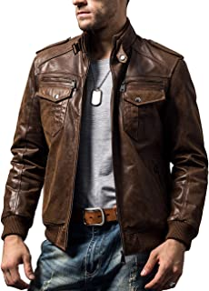Men Biker Retro Brown Leather Motorcycle Jacket Genuine Leather Jacket