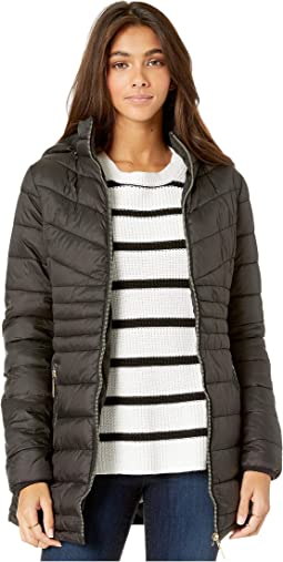 Long Faux Fur Lined Puffer Jacket with Hood