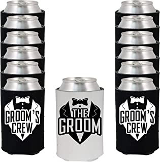 Shop4Ever The Groom and Groom's Crew Tuxedo Can Coolie Wedding Drink Coolers Coolies (Blk, 12 Pk, Crew Tux)