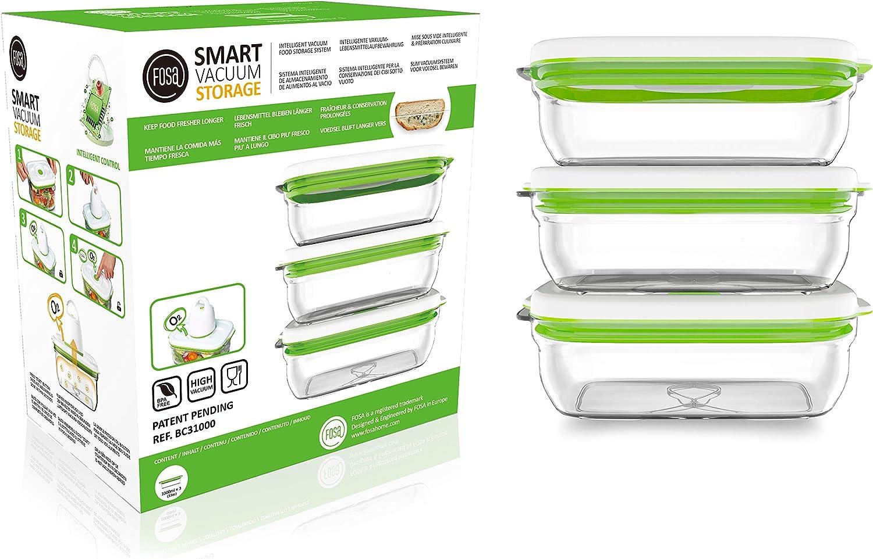 FOSA 3 Recipientes para Alimentos al Vacío, Recipientes Rectangulares para Conservar Comida al Vacío, NO Incluye Bomba de extración, Material Libre de BPA, 1 Litro