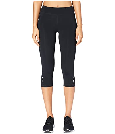 Core 10 Flashflex Medium Waist Run Capri Leggings (Black) Women
