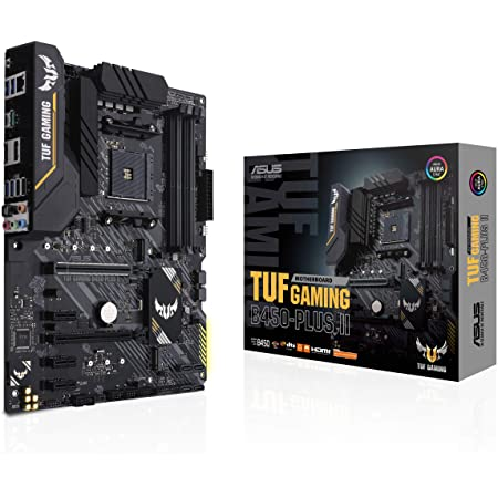 ASUS TUF Gaming B450-PLUS II AMD AM4 (Ryzen 5000, 3rd Gen Ryzen ATX Gaming Motherboard (DDR4 4400(O.C.), HDMI 2.0b, USB 3.2 Gen 2 Type-C, BIOS Flashback, 256Mb BIOS Flash ROM, AI Noise Cancelling Mic