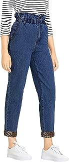 Women's Casual Jeans Paperbag Waist Roll Hem Denim Pants with Pocket