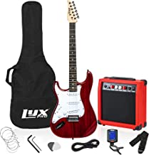 LyxPro Left Hand 39 Inch Electric Guitar and Starter Kit Bundle for Lefty Full Size Beginner's Guitar, Amp, Six Strings, Two Picks, Shoulder Strap, Digital Clip On Tuner, Guitar Cable and Soft Case Gi
