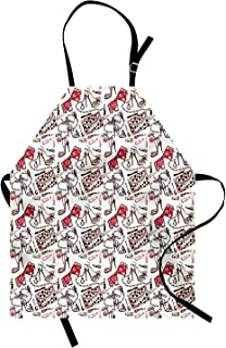 T&H Home Fashion Apron, Feminine Objects Concept with Make Up Lipstick Perfume High Heel Shoes and Hand Bag, Unisex Kitchen Bib Apron Adjustable for Kids Adults Cooking Baking Gardening, Multicolor