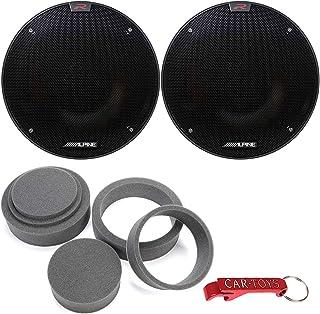 """$199 » Alpine R-S65.2 R-Series 6 1/2-inch (6.5"""") Coaxial 2-Way 100 W RMS/300 WPeak Car Speakers Bundle w/Fast Rings 3-Pc Audio En..."""