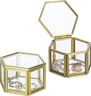 MyGift Vintage Small Hexagonal Clear Glass & Brass Metal Jewelry Display Cases, Set of 2