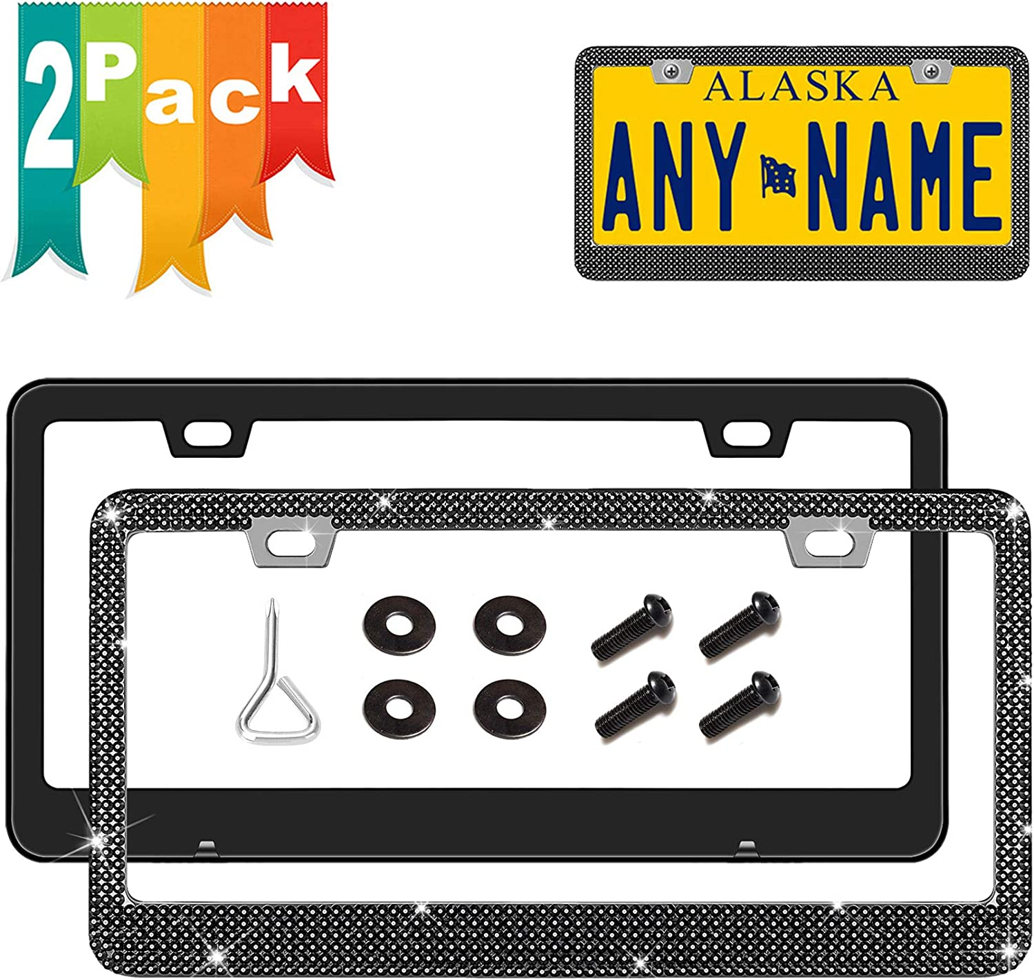 2 Holes Sparkly Glitter License Plate Frame 2 Pack White Rhinestone Stainless Steel Metal License Plate Frame Bling With Gift Box Crystal Anti-Theft Screw Cap Newzon License Plate Frame For Women
