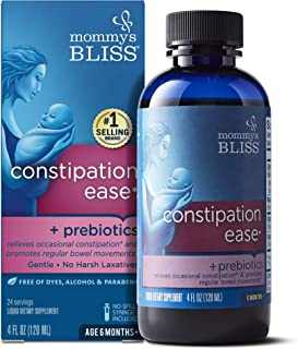 Mommy's Bliss Constipation Ease + Prebiotics for Baby's Tummy Troubles Relief - No Harsh Laxatives Gentle Formula Herbal Supplement - 4 Fl Oz