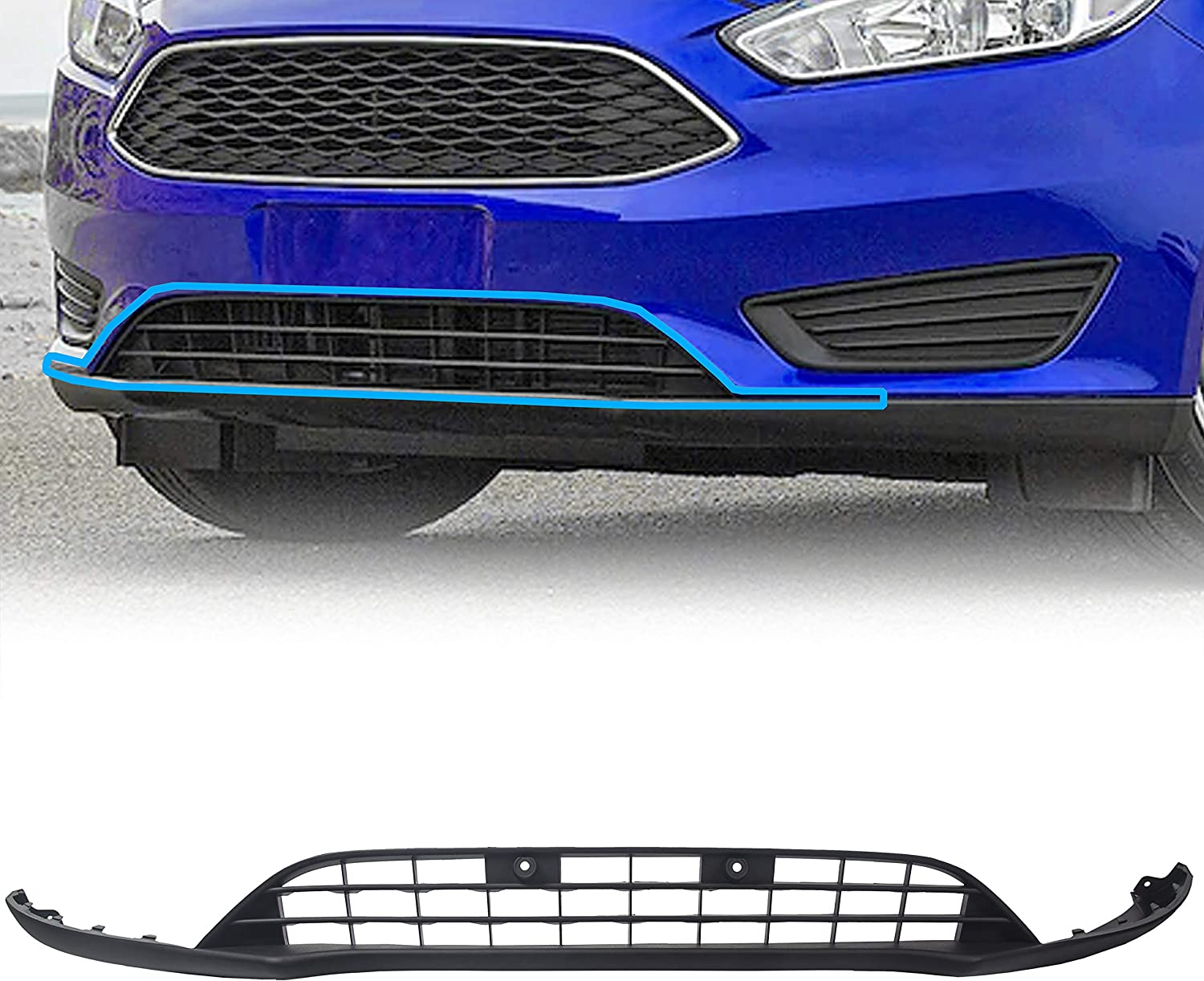 Buy Ecotric New Front Lower Spoiler Valance Panel Lip Chin Grill Grille Compatible With 2015 2018 Ford Focus Replace Part F1ez17626a Online In Indonesia B07ydl2538
