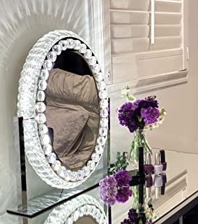 DermAllura Hollywood Mirror With Lights - Crystal Vanity Mirror I Vanity Mirror with Lights I Hollywood Vanity Mirror with...