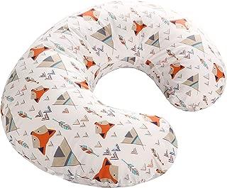 LAT Nursing Pillow Cover,100% Natural Cotton Breastfeeding Pillow Slipcover,Extra Soft and Snug on Baby Nursing Pillow(Orange Fox)