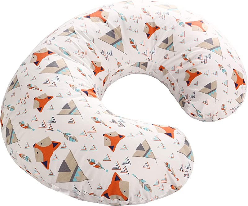 LAT Nursing Pillow Cover 100 Natural Cotton Breastfeeding Pillow Slipcover Extra Soft And Snug On Baby Nursing Pillow Orange Fox