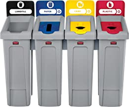 Rubbermaid Commercial Products 2007919 Slim Jim Recycling Station, 4 Stream Landfill/Paper/Plastic/Cans