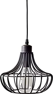 Stone & Beam Metal Cage Single Hanging Ceiling Pendant Chandelier Fixutre With Light Bulb - 9 x 9 Inches, 50 - 58 Inch Cord, Oil-Rubbed Bronze