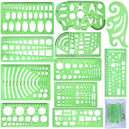 MaiKeEr 6 Pcs Design Template Ruler Green Transparent Plastic Geometric Drawing Templates Ruler for School and Office Engineering Drafting