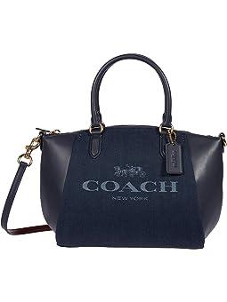 COACH Jacquard Elise Satchel,GD/Denim