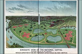 20x30 Poster; Birdseye View Map Of Washington D.C. Site Of The Proposed World'S Exposition Of 1892