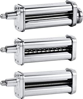 Pasta Maker Attachments Set for all KitchenAid Stand Mixer, including Pasta Sheet Roller, Spaghetti Cutter, Fettuccine Cutter