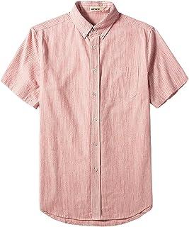 utcoco Men's Casual Spread Collar Regular Fit Pinstripe Short Sleeve Linen Shirts