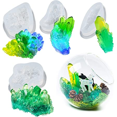 Cake Decoration Musykrafties Crystal Quartz Cluster Silicone Epoxy Resin Moulds Set Isomalt Jewellery Casting Candy Candle Polymer Clay 4-count 1.7-2.9inch