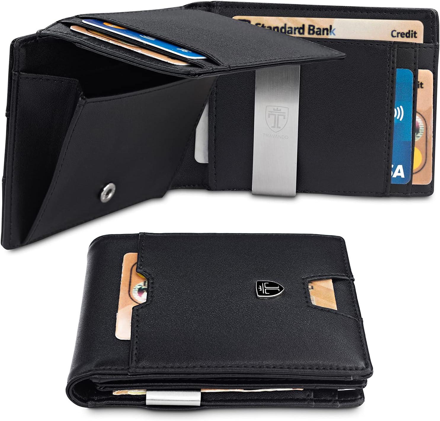 TRAVANDO Cartera con Pinza para Billetes Brisbane Bloqueo RFID - Tarjetero Hombre Slim - Billetero (Negro)