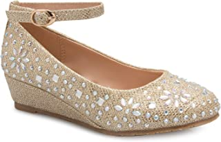 OLIVIA K Girl's Low Wedge Heel Ankle Strap Sparkly Rhinestone Shoes (Toddler/Little Girl)