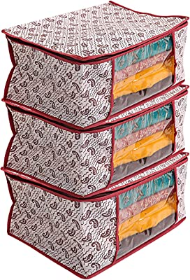 Kuber Industries Kerry 3 Piece Non Woven Saree Cover Set, Maroon (CTSS01201)