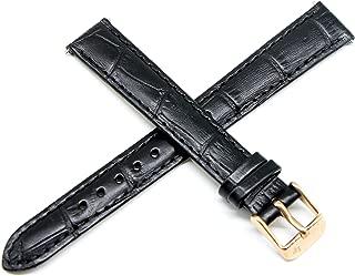 Lucien Piccard 14MM Black Alligator Grain Genuine Leather Watch Strap 7.5