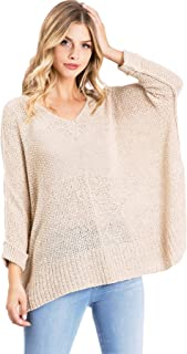 Lana Roux Women's Juniors Oversize Knit V-Neck Sweater Top