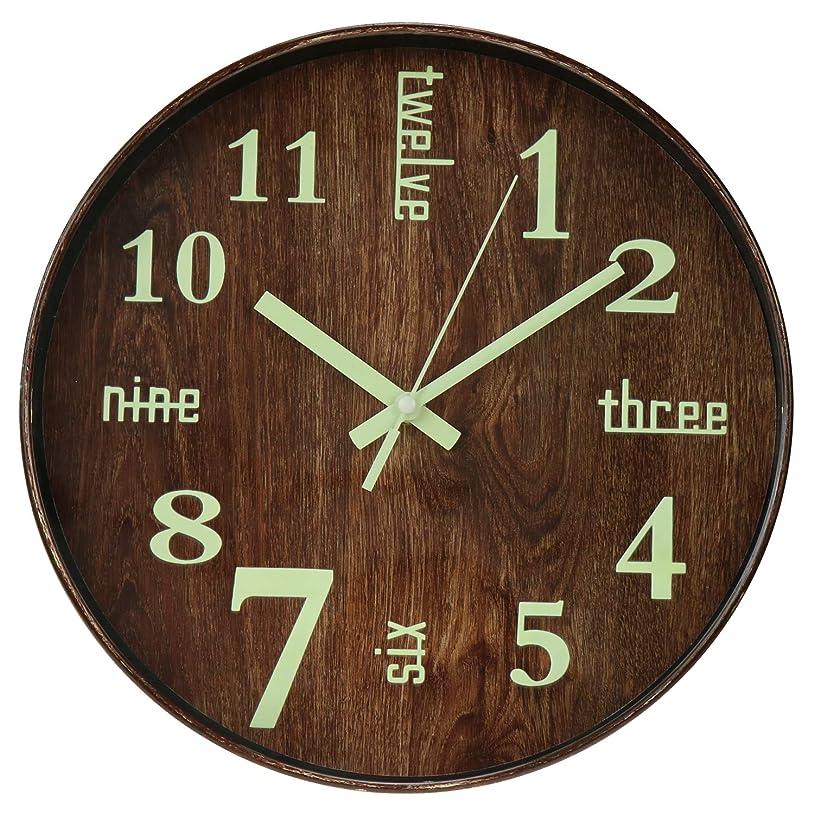 メニュー厚さしなやかな掛け時計 夜光 蓄光 木目調 連続秒針 ウォールクロック 大文字 時計 シンプル 雑貨 インテリア
