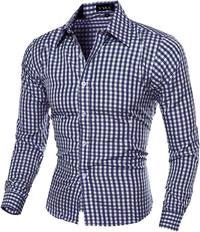 FUNEY Mens Slim Fit Dress Shirt Basic Long Sleeve Checked Button Down Shirt Office Work Poplin Business Formal Shirt Tops