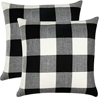 Best GirlyGirl Boutique Farmhouse Decorative Buffalo Check Plaid Pillow Covers Black and White Classic Linen Throw Pillow Covers for Couch, Bed, Sofa,Pack of 2(18 x 18 Inch) Review