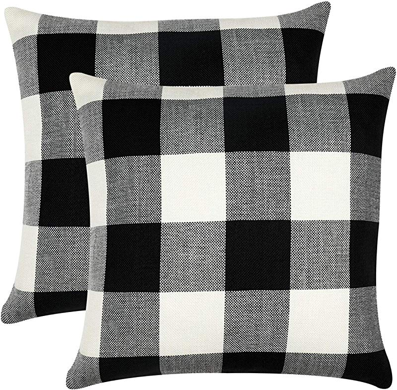 GirlyGirl Boutique Farmhouse Decorative Buffalo Check Plaid Pillow Covers Black And White Classic Linen Throw Pillow Covers For Couch Bed Sofa Pack Of 2 18 X 18 Inch