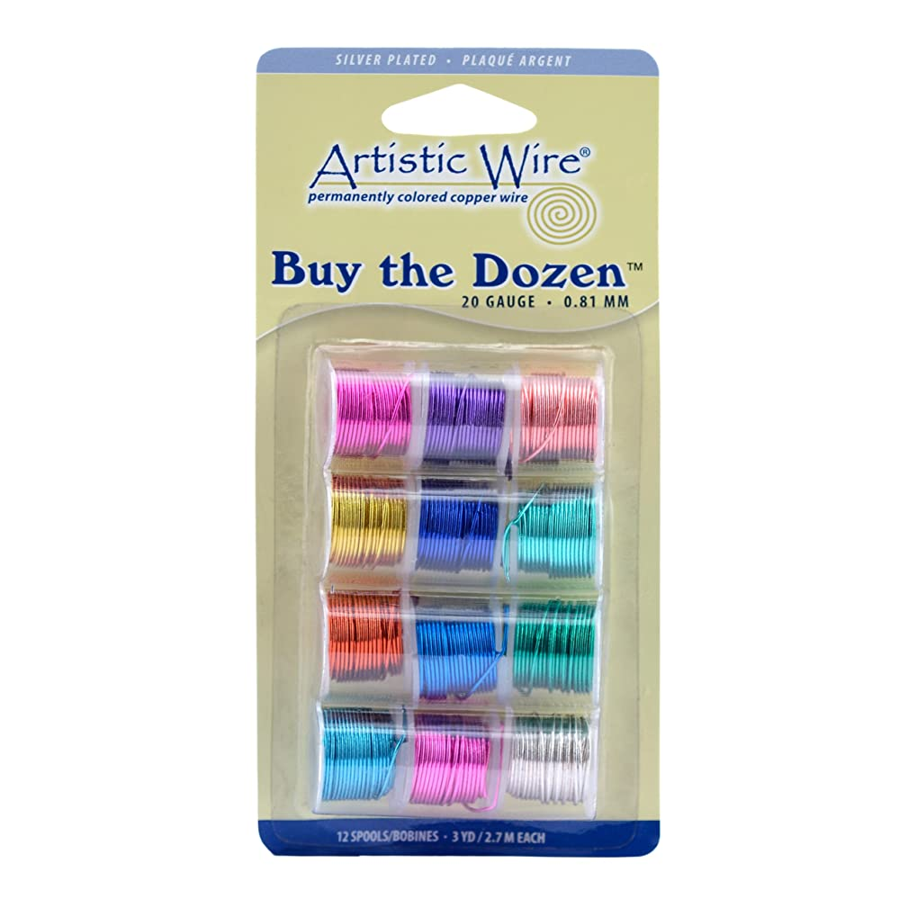 Artistic Wire 20-Gauge Buy-The-Dozen, Various Silver Plated Colors, 12-Pack