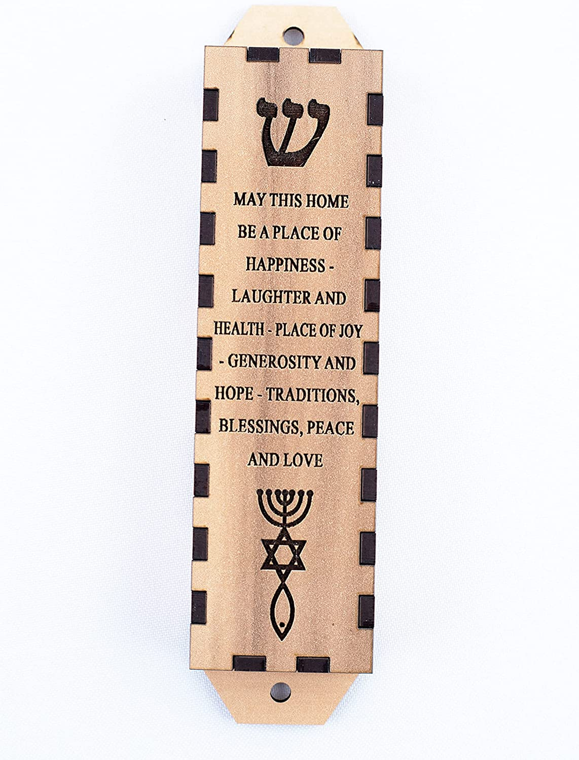 Olive Wood Gifts Shop Handcrafted Home Prayer 'Mezuzah' (5.7 Inch/English), Door Hanging with Laser Engraving of Hebrew Letter 'SHIN' & Messianic Seal on Wooden Blocks & Scroll, from Israel