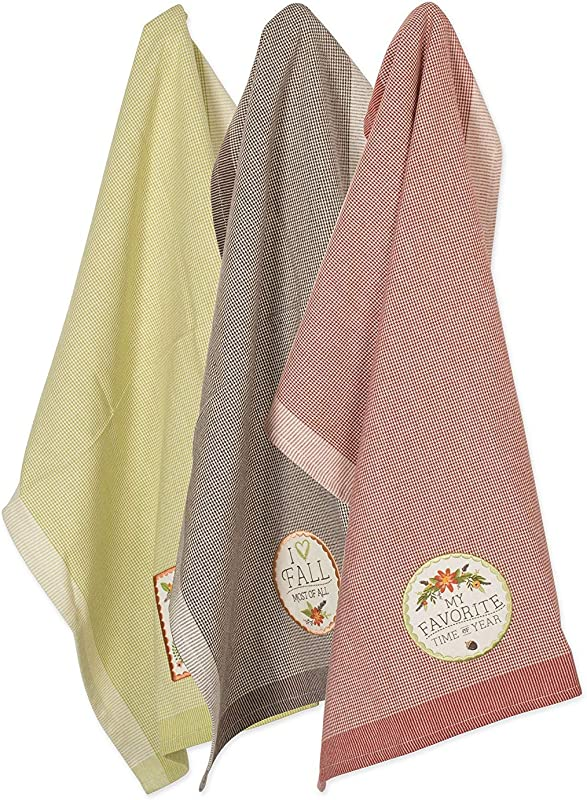 DII Cotton Thanksgiving Holiday Dish Towels 18x28 Set Of 3 Decorative Oversized Embellished Woven Kitchen Towels Perfect Home And Kitchen Gift Embellished Fall In Love