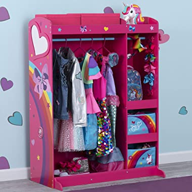 JoJo Siwa Dress & Play Boutique - Pretend Play Costume Storage Closet/Wardrobe for Kids with Mirror & Shelves by Delta Childr