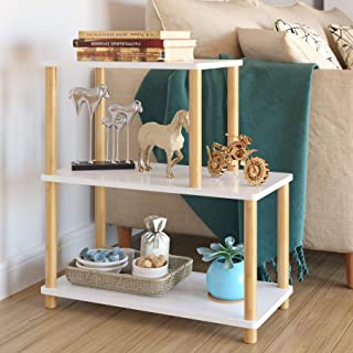 HOMECHO Modern 3-Tier Side End Table Bedside Sofa Chair Side Tables Night Stand Storage Display Shelf for Living Room Bedroom, Ladder-Shaped with Solid Wood Legs, White, HMC-MD-028