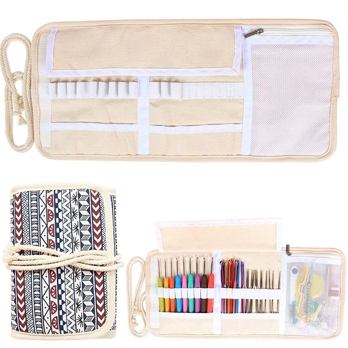 Damero New Canvas Crochet Hooks Wrap Knitting/Crochet Accessories Pouch Craft Tools Organizer Bag, Bohemian-(Not Accessories Included)