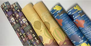 eVincE 3 assorted design Gift Wrapping paper bundle roll   Blue Fish   Hot Air Balloon   Human Graphics Papers with fun fa...