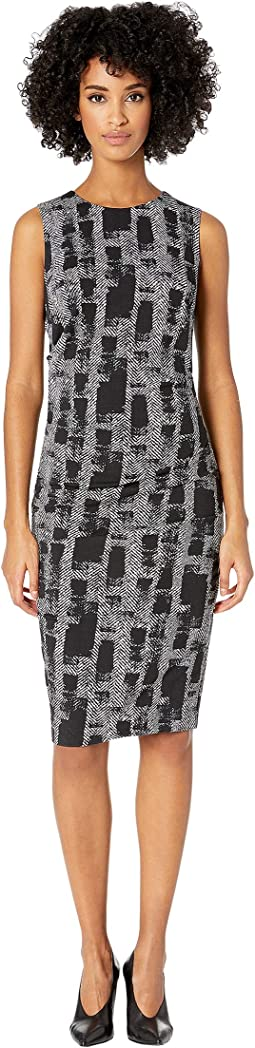 "Painted Herringbone ""Lauren"" Sheath Dress"