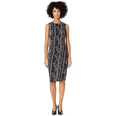 Nicole Miller Painted Herringbone Lauren Sheath Dress (Black Multi) Women